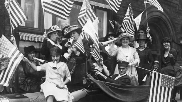 American suffragists celebrating their victory following the passing of the 19th Amendment in August 1920.