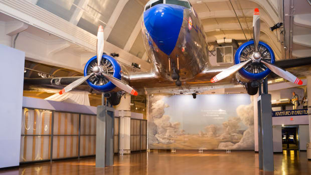 A 1936 Douglas DC-3 greets visitors of the Henry Ford Museum.