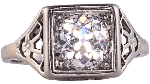 Antique Edwardian platinum and European-cut diamond ring, 1.25 carats, circa 1900, $5,950.
