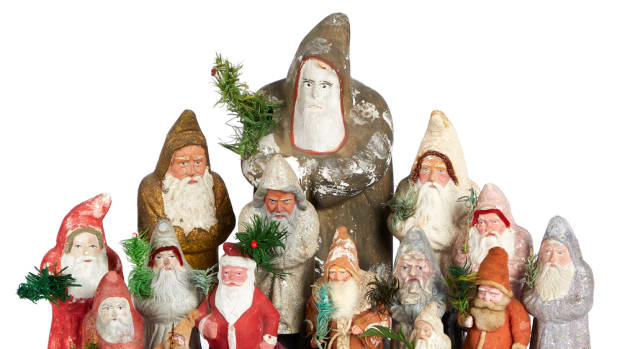 A number of Santas will be up for bid, including a special Dresden Santa  with a sack of toys and a feather tree that is estimated at $600-$900.