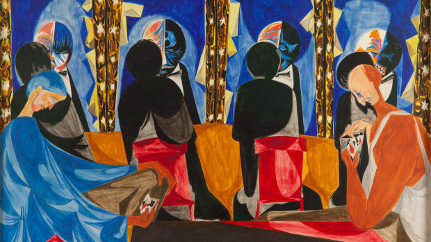"Jacob Lawrence (American, 1917-2000) ""Makeup (Dressing Room),"" 1952, Egg tempera on hardboard, 20"" x 24""."