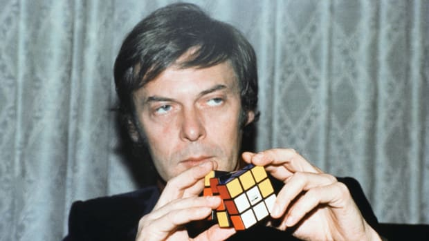 "Erno Rubik, the inventor of Rubik's Cube, in 1981. The small, multi-colored puzzle was also known as the ""Hungarian Horror"" among the multitude of frustrated puzzle solvers."