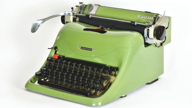 The Olivetti Graphika, 1957, is spectacular to look at but operating difficulties and mechanical problems kept it from finding a place in most offices. It was retired after three years with only 8,000 units manufactured.
