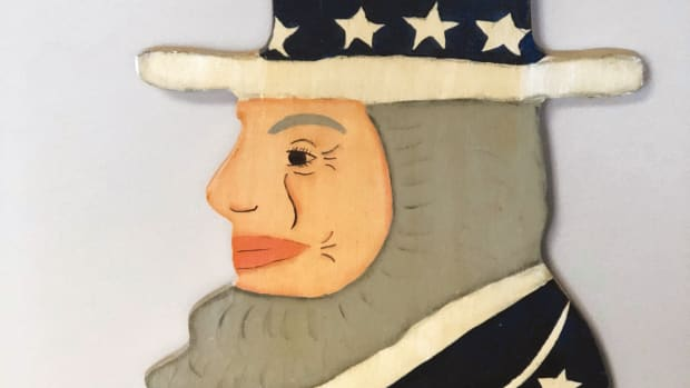 Finding a five-foot-tall Folk Art Uncle Sam was the highlight of a recent thrift store excursion.