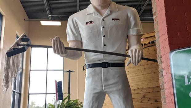 The world's largest janitor greets visitors at the Museum of Clean in Pocatello, Idaho.