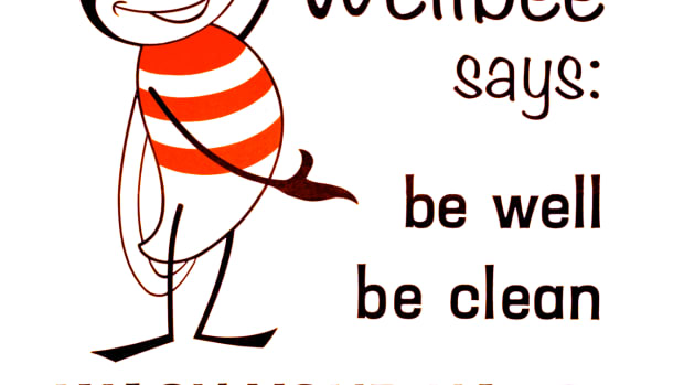 "A 1964 poster features ""Wellbee,"" the CDC's national symbol of public health, who was reminding the public to ""be well, be clean and WASH YOUR HANDS."" CDC used Wellbee in its comprehensive marketing campaign that used newspapers, posters, leaflets, radio and television, as well as personal appearances, at public health events."