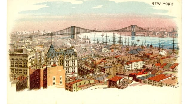 A postcard featuring the Brooklyn Bridge, circa 1895. The bridge opened in 1883.
