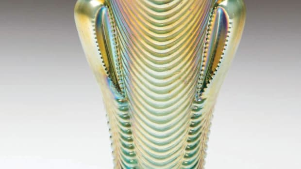 Daisy and Drape pattern carnival glass vase, H. Northwood Co.