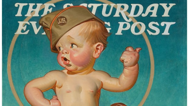 """New Year's Baby Hitching to War,"" The Saturday Evening Post unpublished cover, 1943, by illustrator Joseph Christian Leyendecker (American, 1874-1951)"