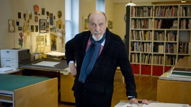 Graphic designer Milton Glaser in his New York City studio in 2014.