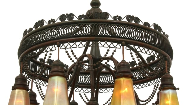 """Among the Day 1 highlights on May 22 is this Tiffany Studios """"Moorish"""" chandelier, circa 1905, patinated bronze, Favrile glass, 16 shades are engraved """"L.C.T.,"""" 34-1/2"""" x 24""""; estimate: $40,000-$60,000."""