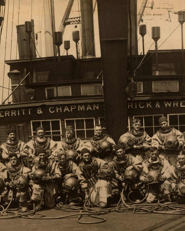 "Based in New York, Merritt-Chapman & Scott, known as ""The Black Horse of the Sea,"" was the largest marine salvage company in the world during the 19th and 20th centuries. This photo was taken circa 1920."