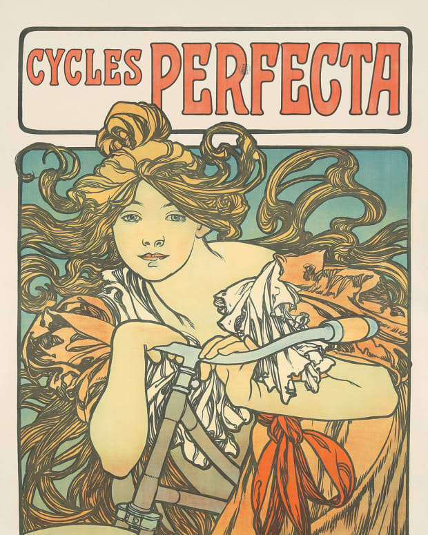 "Mucha's 1902 ""Cycles Perfecta,"" which exudes the decorative style and expressive spaghetti hair that made him famous, recently sold at auction for $36,000, way above its estimate of $17,000-$20,000."