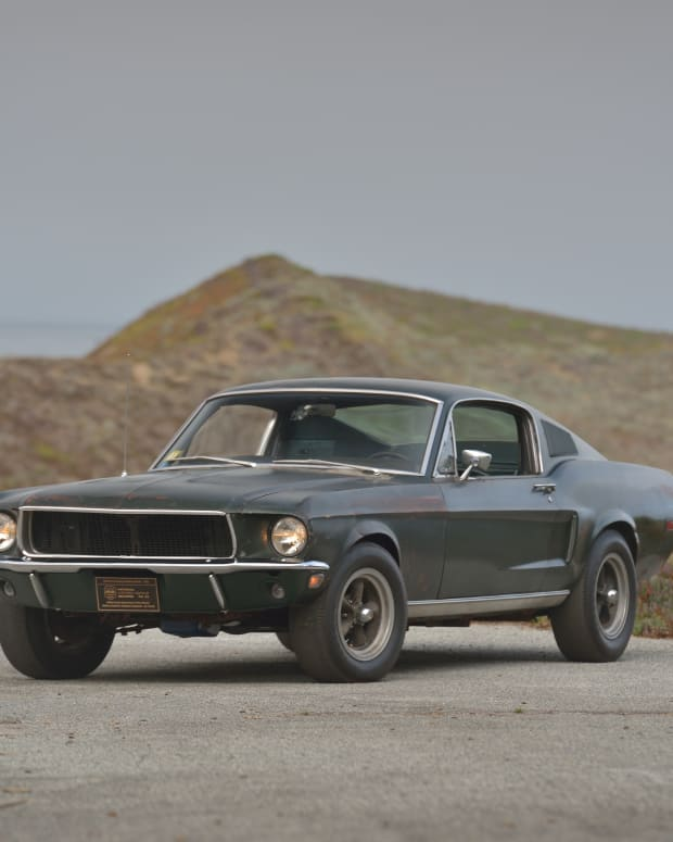 The 1968 Ford Mustang from the Steve McQueen crime thriller, Bullitt, races to an auction record.