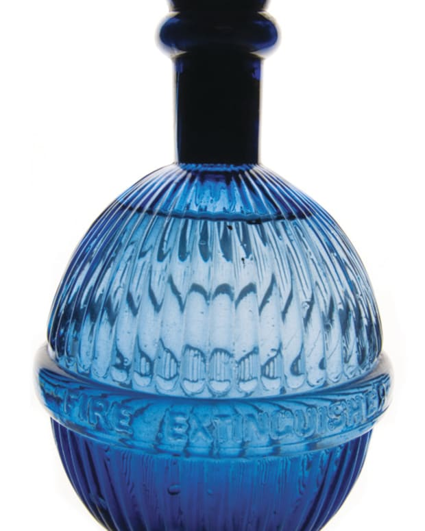 Fire grenade in blue glass