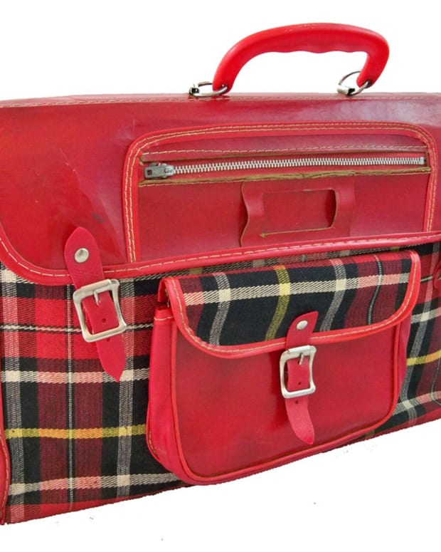 You might have carried your supplies and books in a satchel like this, with everything tucked in tight. Vintage book bags average $20-$60.