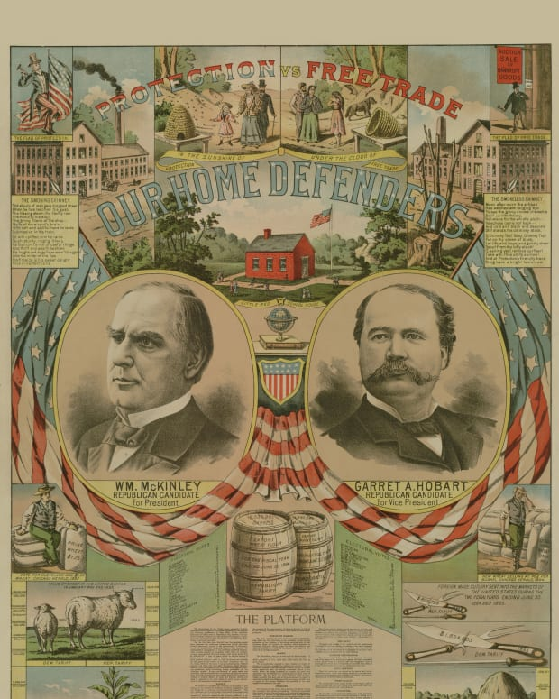 The 1896 Republican Party presidential campaign poster for William McKinley and Garret Hobart.