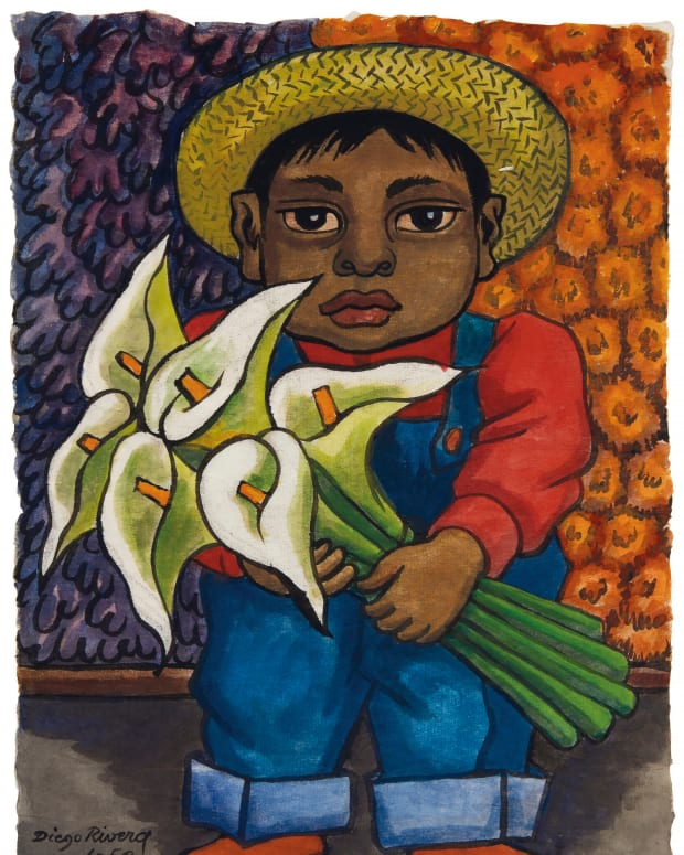 Children were a favorite subject of Rivera, as  were calla lilies, reportedly his favorite flower. Niño con alcatraces, executed in 1950, combines both. This sold for $118,750 in 2018 at Christie's.