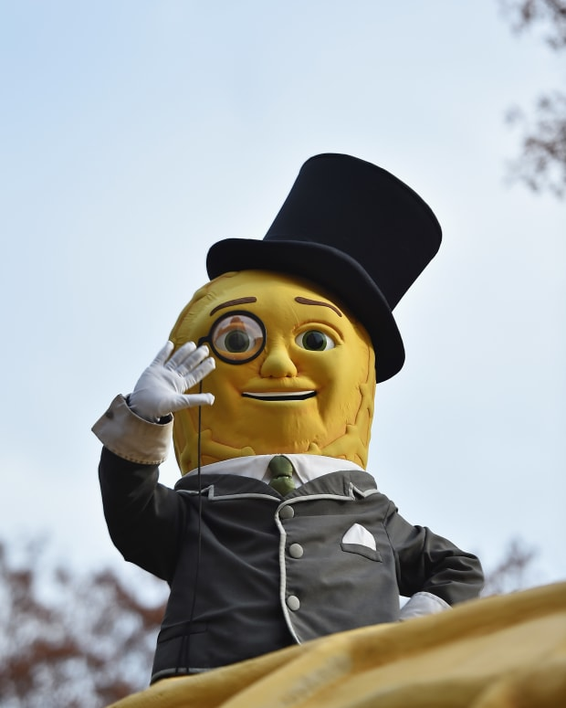 Mr. Peanut floats through the 90th Annual Macy's Thanksgiving Day Parade on November 24, 2016 in New York City.