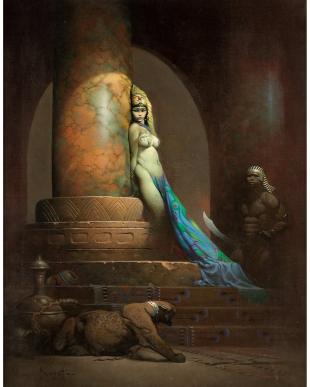 """The most expensive original piece of comic art, Egyptian Queen, by Frank Frazetta, sold in May 2019 for $5.4 million. """"This result elevates Frank Frazetta's art into the stratosphere of visual narrative art on a par with the likes of Norman Rockwell, Maxfield Parrish and other luminaries,"""" said Heritage Auctions Vice President Todd Hignite."""