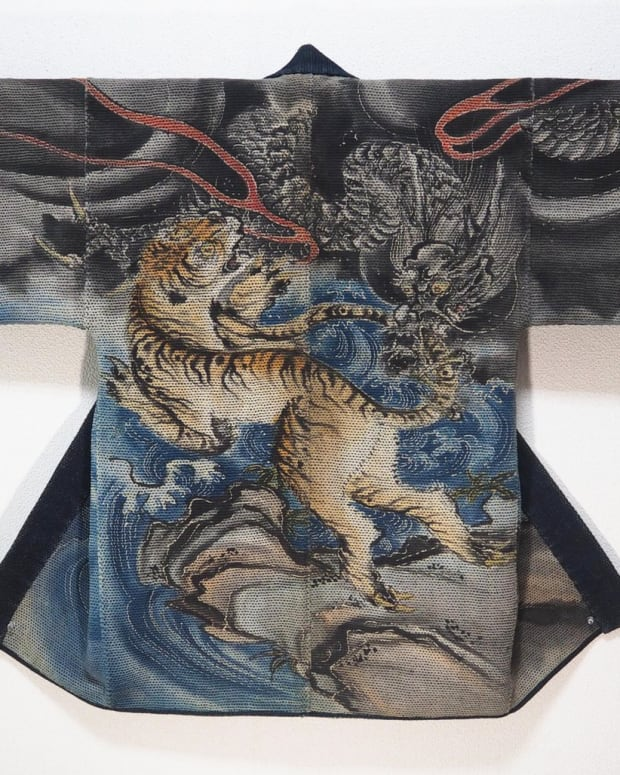 This 19th-century coat is decorated with a tiger and dragon motif. In Japanese lore, the tiger and dragon are the mightiest animals. During the peaceful Edo period, dragons were worshipped as water gods that could bring rain, prevent floods, and control the change of seasons. The dragon also represents wisdom and good luck; the tiger represents strength and courage.