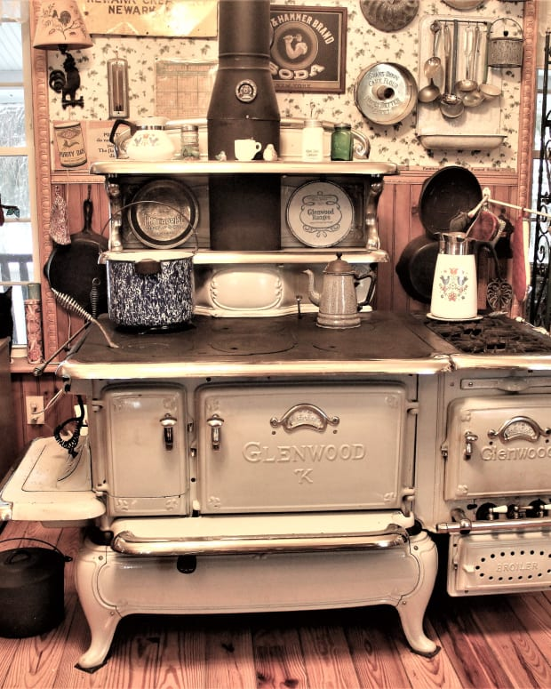 The author has had the Glenwood kitchen stove for almost 30 years. It's a kitchen mainstay that she cooks and bakes with daily.