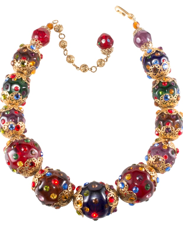 Jay Feinberg (Strongwater) resin bead and rhinestone necklace, 1980s.