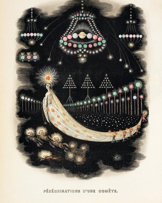 """The Wanderings of a Comet,"" from Another World, 1844. Another World is one of Grandville's most influential works."