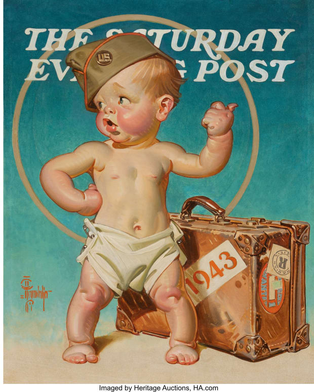 """""""New Year's Baby Hitching to War,"""" The Saturday Evening Post unpublished cover, 1943, by illustrator Joseph Christian Leyendecker (American, 1874-1951)"""