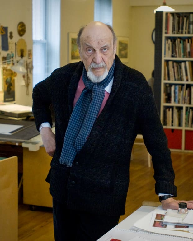 Graphic designer Milton Glaser in his New York City studio in 2014.