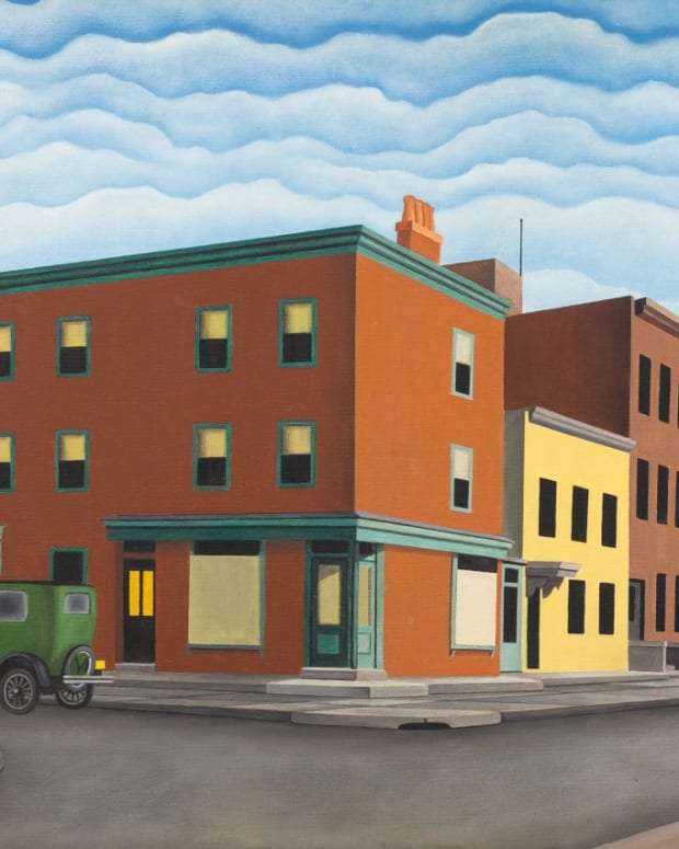 George Copeland Ault's Morning in Brooklyn (1929). The painting is now thought to be a forgery by D.B. Henkel.