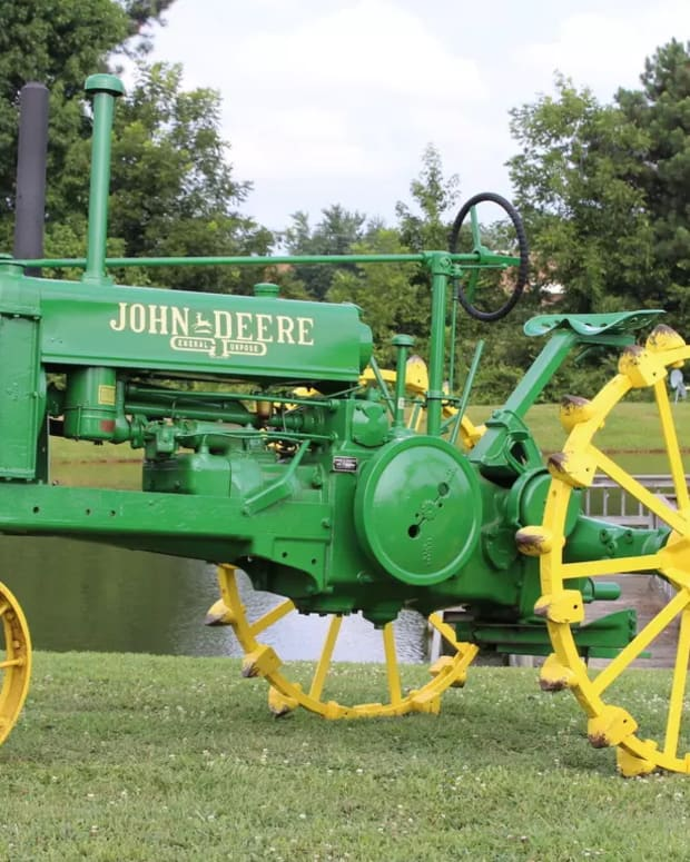 One of the John Deere tractors in Wilson's collection that will be auctioned.