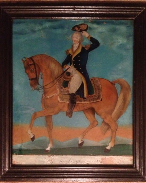 A circa 1825 reverse-painted glass image of George Washington in original frame.
