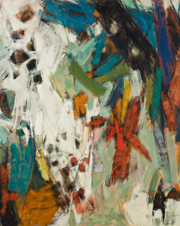 Hale Woodruff, Carnival, oil on canvas, circa 1958, was the top lot, selling for $665,000, which was also a record for an abstract work by the artist.