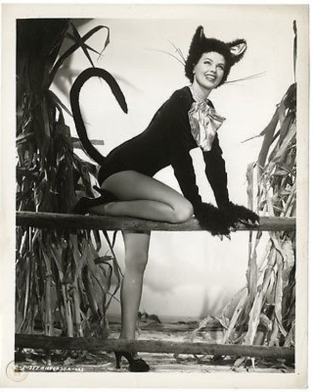 Actress and World War II pinup girl Dusty Anderson dresses the part of a mischievous feline in this 1940s' photo.