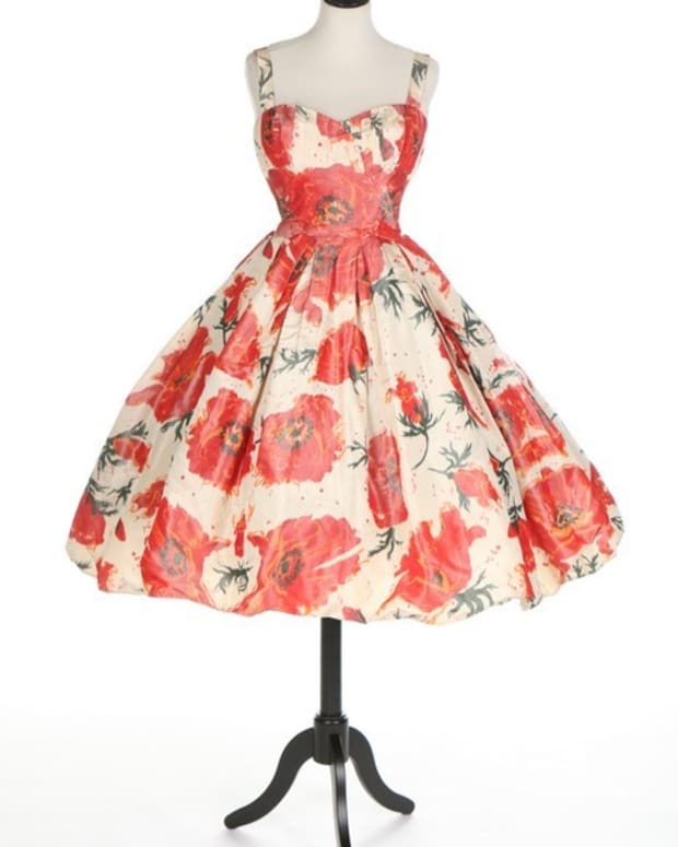 Poppies appear again on this taffeta cocktail dress, spring 1956, by Rocco Materay. This sold at auction for $960.
