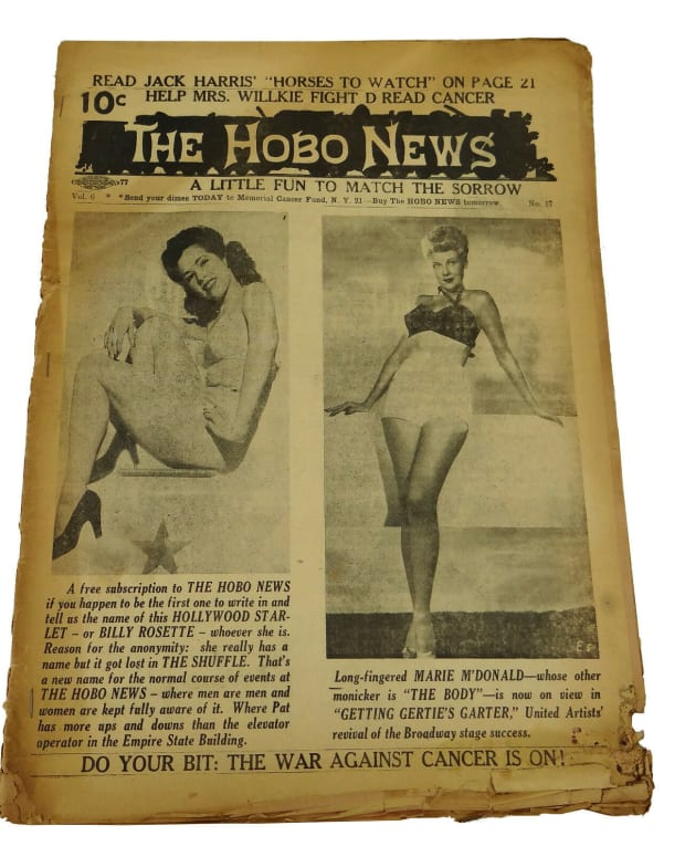 A copy of The Hobo News, 1946. Pin-ups were a common feature  of the tabloid. This was recently offered on eBay for $400.