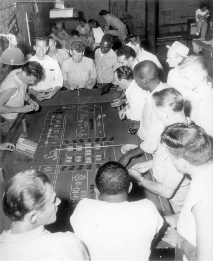 Inmates gambling at the Nevada State Prison casino.