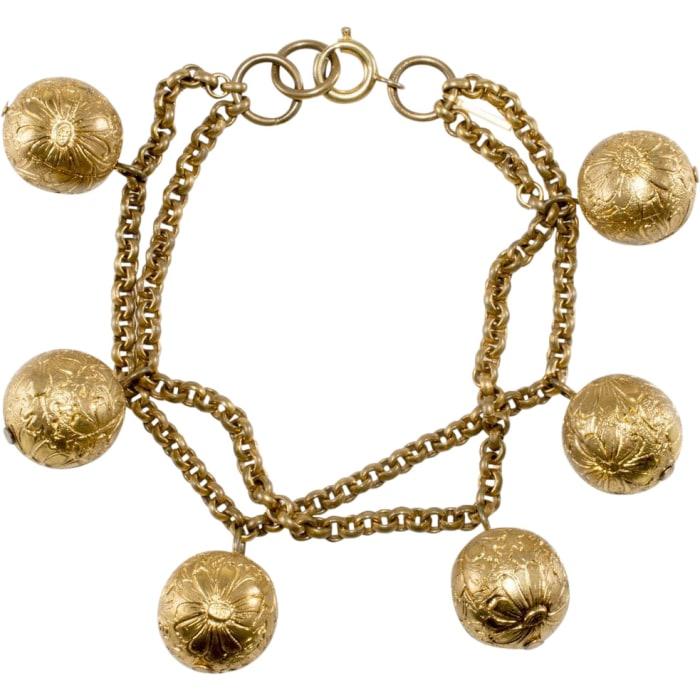 "Monet Jewelers ""Hindu Bells"" bracelet, 1937."