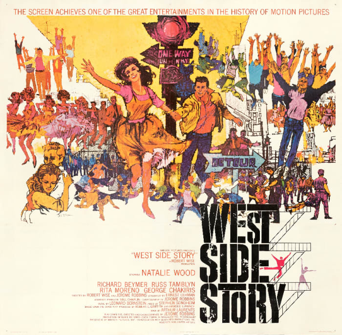 Robert Peak's artwork for the movie poster for West Side Story (United Artists, 1961). This sold at Heritage Auctions in March for $2,640.