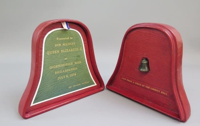 A miniature copy of the Liberty Bell cast from a fragment of the original and housed in a red leather case was presented to Queen Elizabeth II at Independence Hall in Philadelphia during her 1976 state visit to the United States, in conjunction with the bicentennial of American Independence.