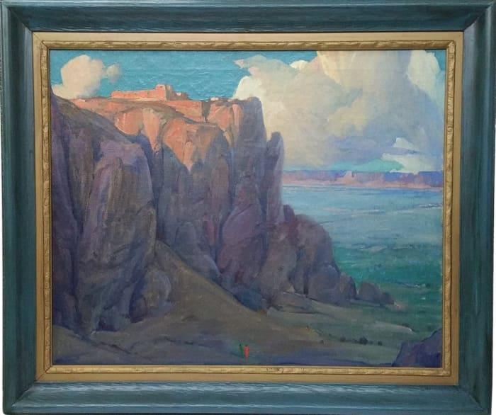 """Oil-on-canvas painting titled, """"Acoma Cathedral of the Desert, New Mexico,"""" by Arts and Crafts California impressionist Gerald Cassidy, circa 1924, image is 26"""" x 32"""", with frame 39-1/2"""" x 33-1/2""""; estimate: $120,000-$125,000."""