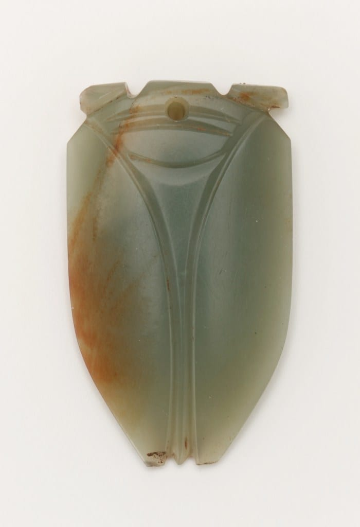 Tongue amulet in the form of a cicada (hanchan); China, Han dynasty, 1st century BCE–1st century CE; jade (nephrite); Gift of Arthur M. Sackler.