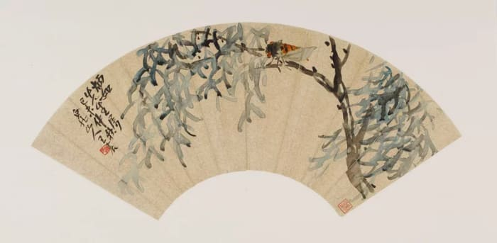 Cicada on tree branch; Wang Zhen (1867–1938); China, modern period, autumn 1919; fan mounted as album leaf; ink on gold-flecked paper; Gift of Robert Hatfield Ellsworth in honor of the 75th Anniversary of the Freer Gallery of Art.