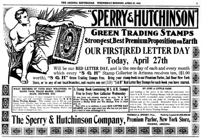 An S&H newspaper ad from the Arizona Republican, April 27, 1910.