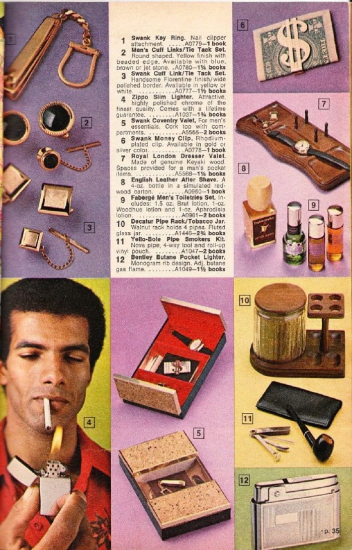 Swanky accessories for men and tobacco items were a hit in the 1970s.
