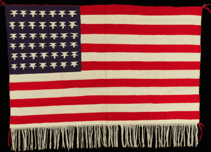 American Flag, 1900-1910, Germantown yarn, aniline dyes and natural white wool.