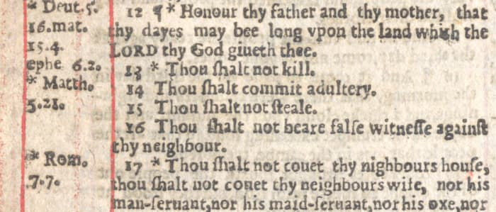"""The infamous omission of the word """"not"""" in verse 14."""