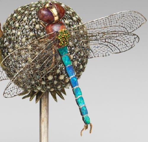 Close-up details of one of the dragonflies.