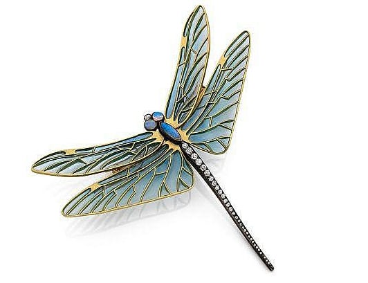 An 18k yellow gold and silver brooch by René Lalique, embellished with diamonds, opals and enamel, early 20th century; $103,000.